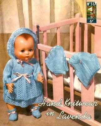 "PDF Digital Download Vintage Knitting Pattern Toy Doll Clothes 18"" 20"" Dolls Lavenda 317 Toys"
