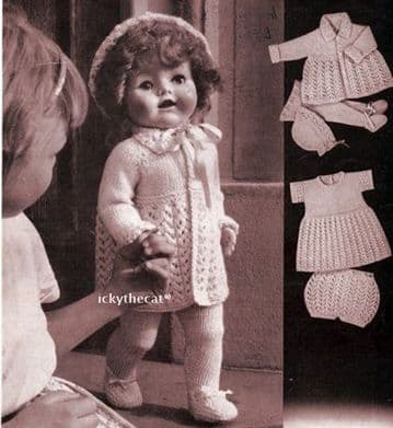 PDF Digital Download Vintage Knitting Pattern Toy Doll Clothes 20-21'' Baby Dolls Toys