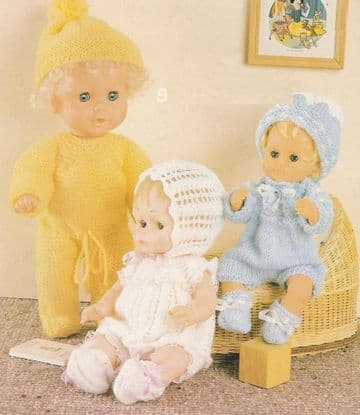 PDF Digital Download Vintage Knitting Pattern Toy Doll Clothes Basby Dolls 12 14 16'' Toys ​