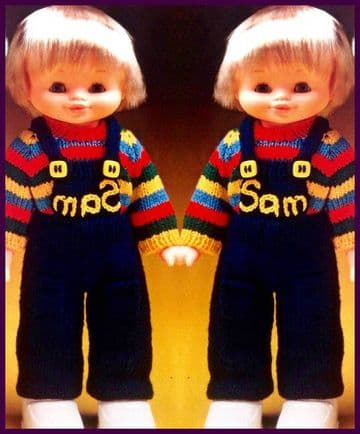 PDF Digital Download Vintage Knitting Pattern Toy Doll Clothes Overalls Sweater 13'' Dolls Toys