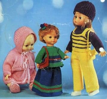 PDF Digital Download Vintage Knitting Pattern Toy Doll Clothes12,16,18'' Baby Dolls Toys