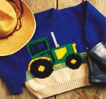 "PDF Digital Download Vintage Knitting Pattern Tractor Farm Sweater Baby Children Aran  Yarn 22"" -28"""