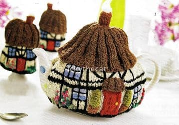 PDF Digital Download Vintage Knitting Pattern Tudor Cottage House Tea Cosy Cozy ​​​​​​​& Egg Cosy