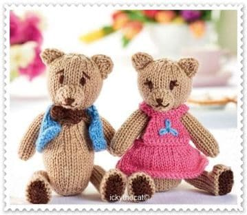 PDF Digital Download Vintage Knitting Pattern Two Teddies Baby Child Moveable Arms Legs & Clothes