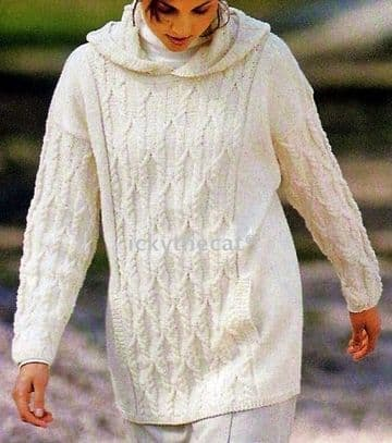 PDF Digital Download Vintage Knitting Pattern Women's Ladies AranStyle Cable Hooded Sweater 10-20 P