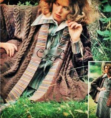 PDF Digital Download Vintage Knitting Pattern Women's Ladies Oversize Cable Cape/Cardigan/Coat