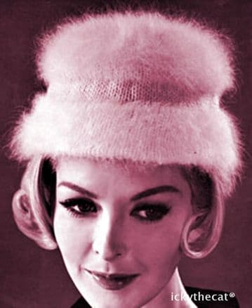 PDF Digital Download Vintage Knitting Pattern Women's Ladies Sixties Angora Brimmed  Hat One Size
