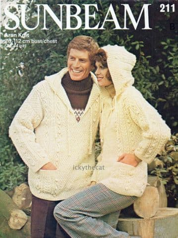 PDF Digital Download  Vintage Knitting Pattern Women's Men's Cable Sweater Tunic with Hood 34-44''
