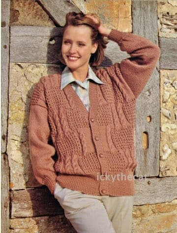 PDF Digital Download Vintage Knitting Pattern Women's Sampler Aran Style  Cable Cardigan Jacket