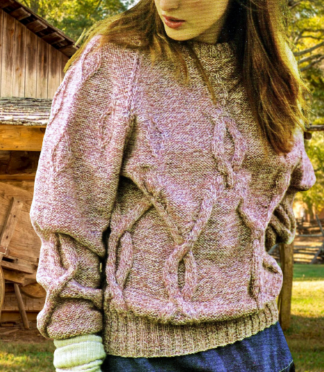 PDF Digital Download Vintage Knitting Pattern Womens Bold Cable Sweater Jumper 34-42 inches DK