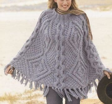 PDF Digital Download Vintage Knitting Pattern​​​​​​​ Womens Cable Poncho Aran Style