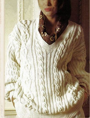 PDF Digital Download Vintage Knitting Pattern Womens Cricket Style  Loose Fit Aran Style Sweater