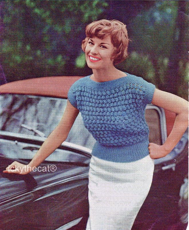 PDF Digital Download Vintage Knitting Pattern Womens​​​​​​​ Ladies 50s Sweater Jumper 30-36 DK