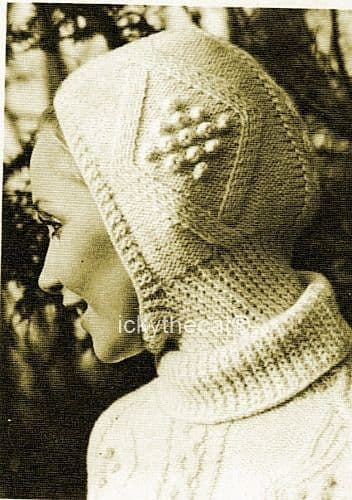 PDF Digital Download Vintage Knitting Pattern Womens Ladies Aran Cable Balaclava Helmet Hat