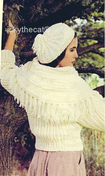 PDF Digital Download Vintage Knitting Pattern Womens Ladies Aran Cropped Cardigan Jacket and Beret