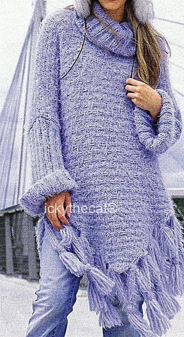PDF Digital Download Vintage Knitting Pattern Womens Ladies Poncho Tunic with Sleeves