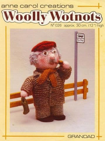 PDF Digital Download Vintage Knitting Pattern Woolly Wotnots 12'' ​​​​​​​Grandad Doll