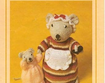 PDF Digital Download Vintage Knitting Pattern Woolly Wotnots ​​​​​​​Knitting Pattern Bedtime Mouse