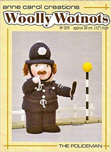 PDF Digital Download Vintage Knitting Pattern Woolly Wotnots Policeman 12'' Doll