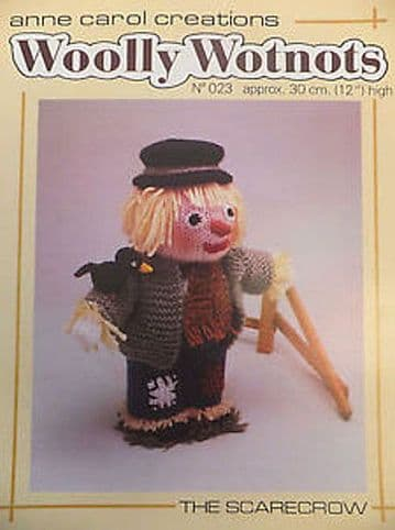 PDF Digital Download Vintage Knitting Pattern Woolly Wotnots Scarecrow Rag Doll 12'' Toy