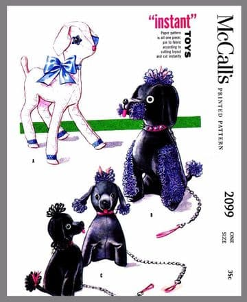 PDF Digital Download Vintage McCall's Sewing Pattern to make A Lamb, Poodle Dog and Puppy