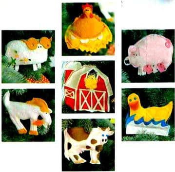 PDF Digital Download Vintage Sewing Craft Pattern Farm Animal Ram Pig Goat Chicken Cow Duck