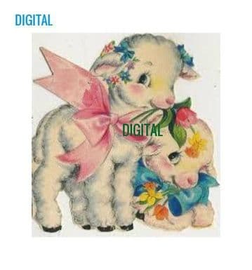 PDF Digital Download Vintage Sewing Cross Stitch Pattern Vintage Little Lambs 3.8 x 4'' 14 sts Count
