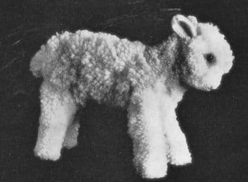PDF Digital Download Vintage Sewing & Knitting Pattern 6'' High Lamb Sheep Stuffed Plush Soft Toy