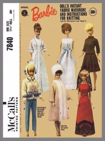 PDF Digital Download Vintage Sewing & Knitting Pattern McCalls 7840 Clothes Teenage Doll