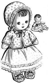 PDF Digital Download Vintage Sewing Pattern 11'' Baby Girl Sock Doll Stuffed Soft Body Toy + Clothes