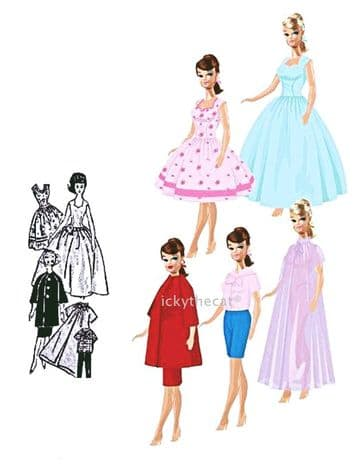 PDF Digital Download Vintage Sewing Pattern 12'' Doll Clothes Teenage Fashion Dolls Sindy Barbie