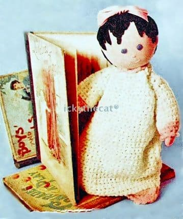 PDF Digital Download Vintage Sewing Pattern 14'' Easy Sock Doll Crochet Dress