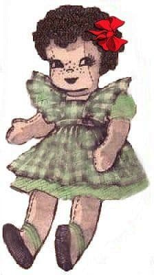 PDF Digital Download Vintage Sewing Pattern 15'' Alice Books Doll Curly Hair Stuffed Soft Toy with Clothes