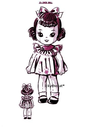 """PDF Digital Download Vintage Sewing Pattern 15"""" Girl Rag Doll with Clothes Stuffed Soft Toy"""