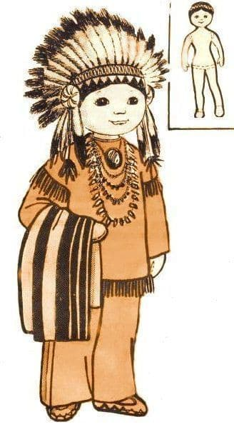 PDF Digital Download Vintage Sewing Pattern 16'' American Indian Doll & Clothes Soft Toy