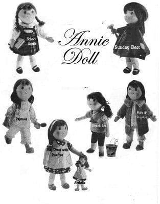 PDF Digital Download Vintage Sewing Pattern 18'' Annie Her Dolly Stuffed Soft Body Dolls Toys
