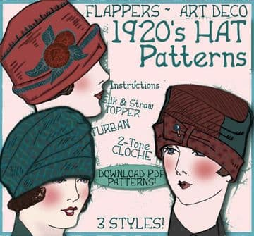 PDF Digital Download Vintage Sewing Pattern 20's Flapper CLOCHE Turban Hat 3 Patterns