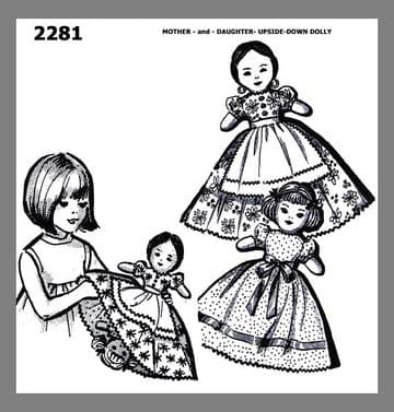 PDF Digital Download Vintage Sewing Pattern 2281 Mother Daughter Upside-Down Doll Topsy Turvy Toy