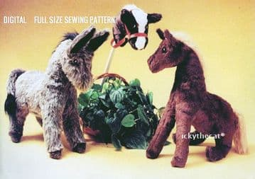 PDF Digital Download Vintage Sewing Pattern 3 Stuffed Plush Soft Toy Pony Burro Unicorn