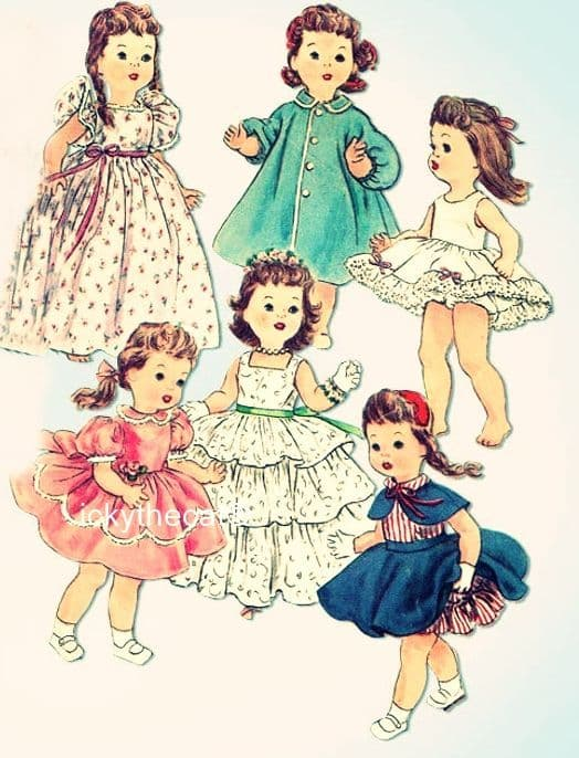 PDF Digital Download Vintage Sewing Pattern 4908 Dolls Clothes 17''  Dolls Saucy Walker