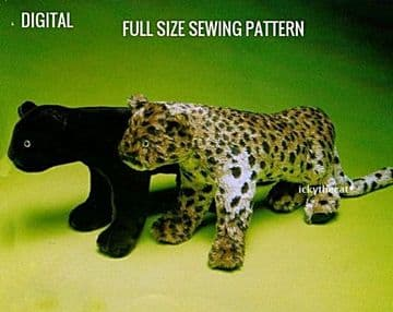 PDF Digital Download Vintage Sewing Pattern  72 cm Panther Large Cat ​​​​​​​Stuffed Plush Soft Toy