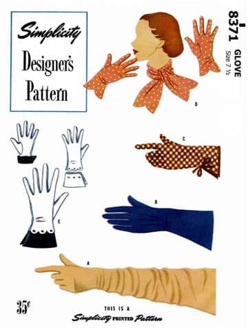 PDF Digital Download Vintage Sewing Pattern 8371 Simplicity Various Ladies Womens Misses Gloves