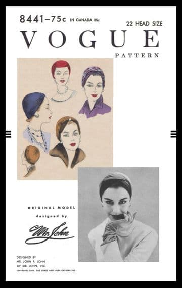 PDF Digital Download Vintage Sewing Pattern 8441 Vogue Womens Ladies Turban Hat Cap Millinery