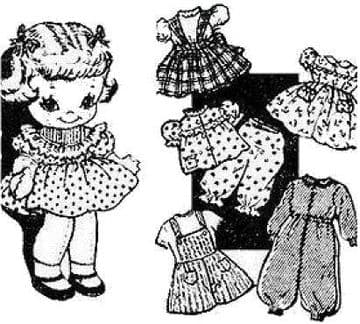 PDF Digital Download Vintage Sewing Pattern 9' Laura Wheeler  Soft Body Cloth Doll with Clothes