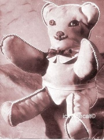 PDF Digital Download Vintage Sewing Pattern 9'' Leather Suede Teddy Bear