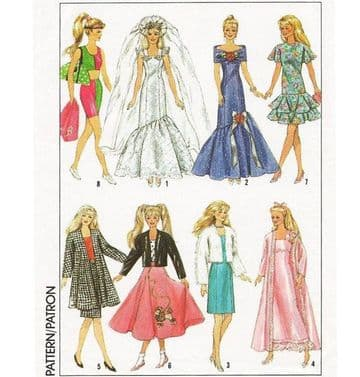 PDF Digital Download Vintage Sewing Pattern 9334 Dolls Clothes Teenage Fashion Dolls Barbie & Ken
