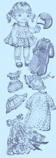 PDF Digital Download Vintage Sewing Pattern Alice Brooks 7131 10 Inch Soft Body Cloth Doll
