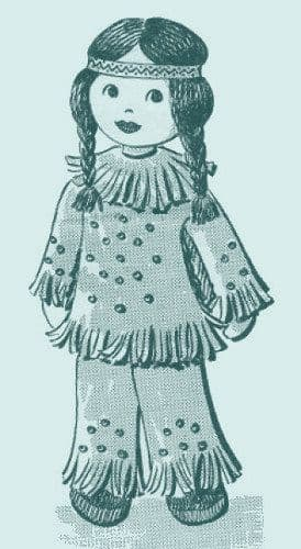 "PDF Digital Download Vintage Sewing Pattern American Indian Girl 15"" Stuffed Soft Cloth Doll Toy"