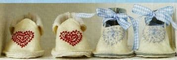 PDF Digital Download Vintage Sewing Pattern Baby Clothes Bootees Slippers Shoes 11 x 7 cm
