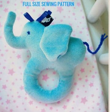 PDF Digital Download Vintage Sewing Pattern Baby Elephant Toy Animal Stuffed Soft Toy Toys